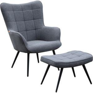 Otta fauteuil incl hocker grijs