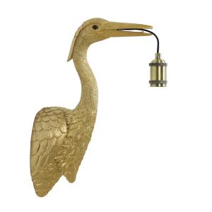 Reiger wandlamp goud