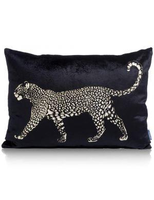 Leopard kussen zwart 35x50 cm