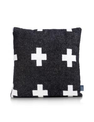 Cross kussen zwart 45x45 cm