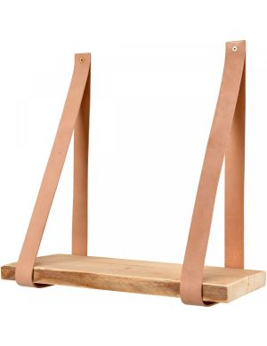 Yay leren wandplank steigerhout plank beige