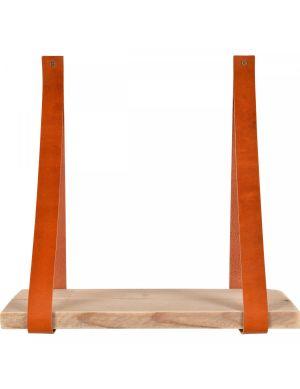 Yay leren wandplank steigerhout plank cognac